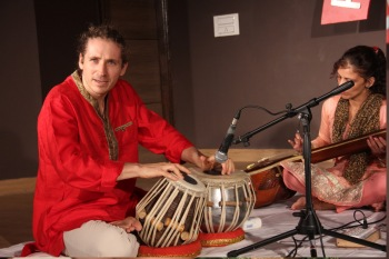 Pablo on tabla performing in Kendra 249th Monthly Baithak