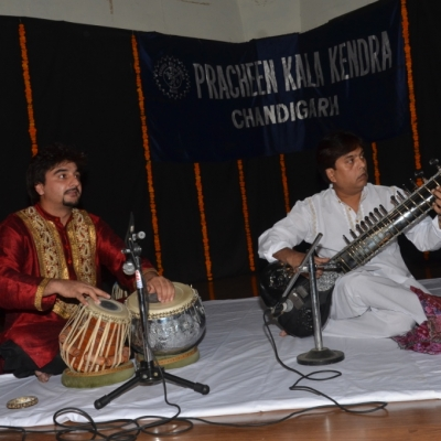 Mohsin Ali Khan playing sitar with Avirbhav on Tabla