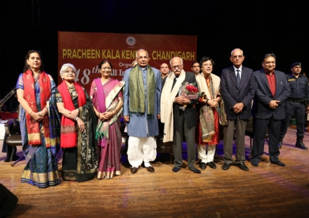 Prof. Kaptan Singh Solanki ,Honble Governor of Haryana felicitating eminent personalities of Art & Culture on the occasion of 48th All India Bhaskar Rao Sammelan at Tagore Theatre