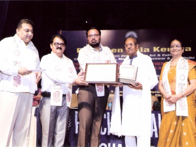 Hon'ble gusts honoring Sh. Om Prakash for his contribution towards art & music