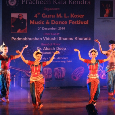 Troupe of Guru Ranjana Gauhar performing odissi dance at 4th Guru M.L. Koser festival of music and dance