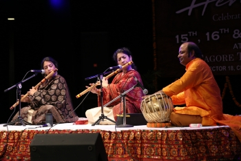 Flute sisters deborpiya & suchismita performing in Hemantotsav 2nd day organised by Kendra